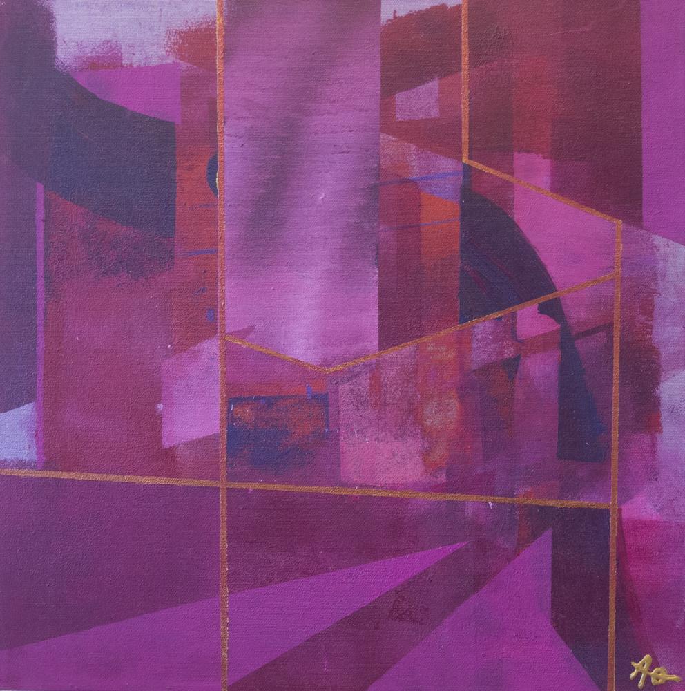 Rød drøm III,  40 x 40 cm, akryl på lerret