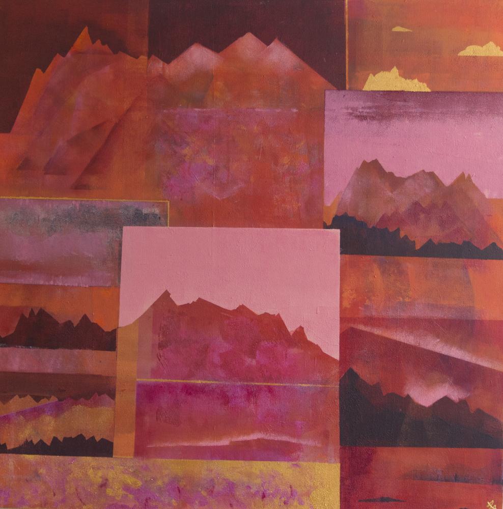 Røde postkort fra hurtigruta, 90 x 90 cm, akryl på lerret