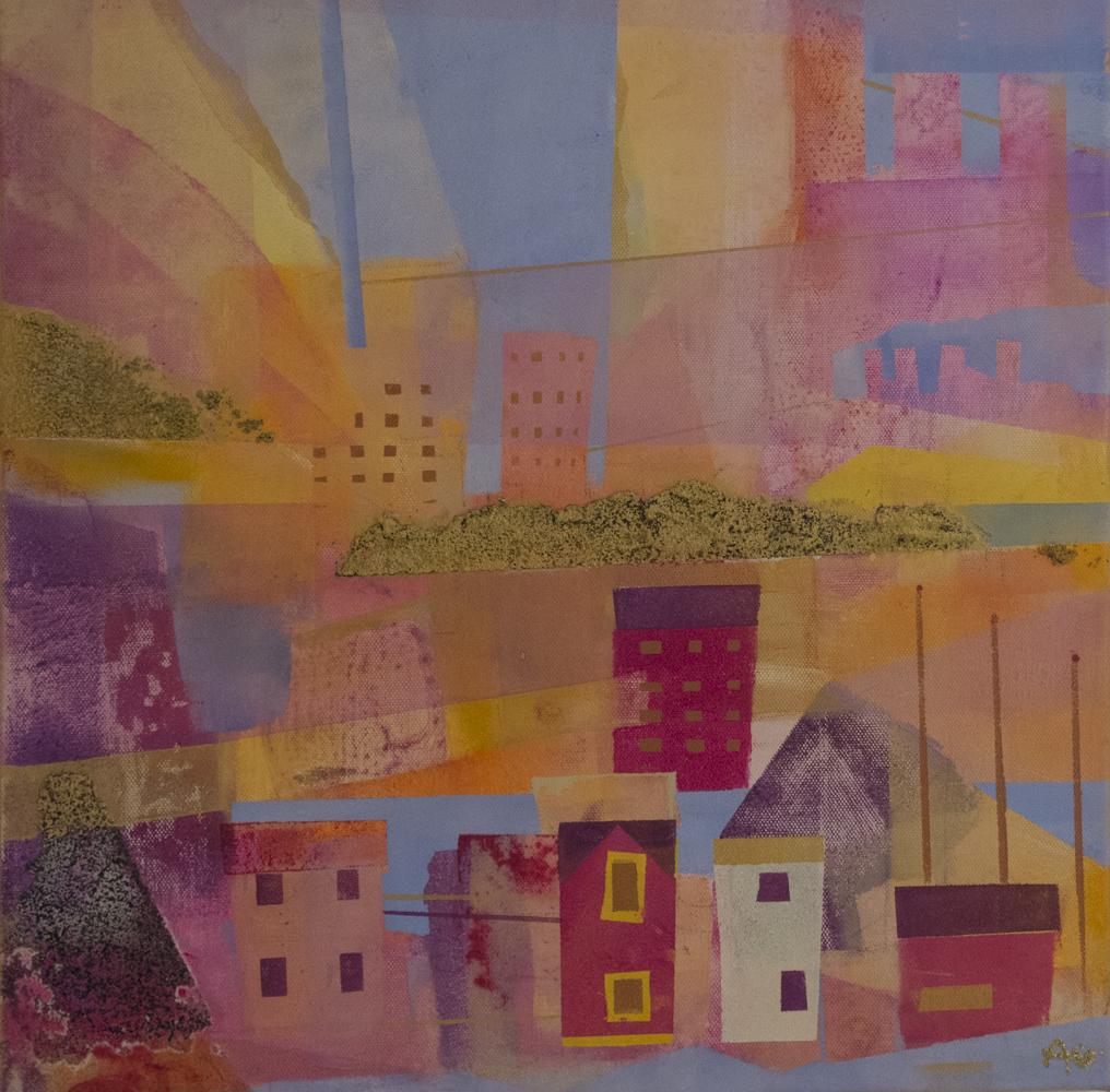 Sommerbyen II, 40 x 40 cm, akryl på lerret