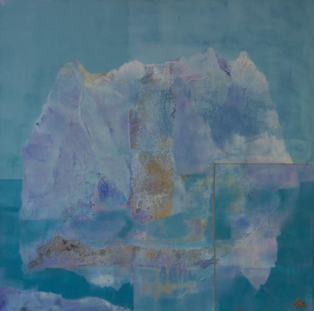 Vår i Arktis II , 50 x 50 cm, akryl på lerret